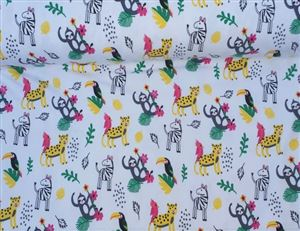 Tricot jungle Animals White QT1709